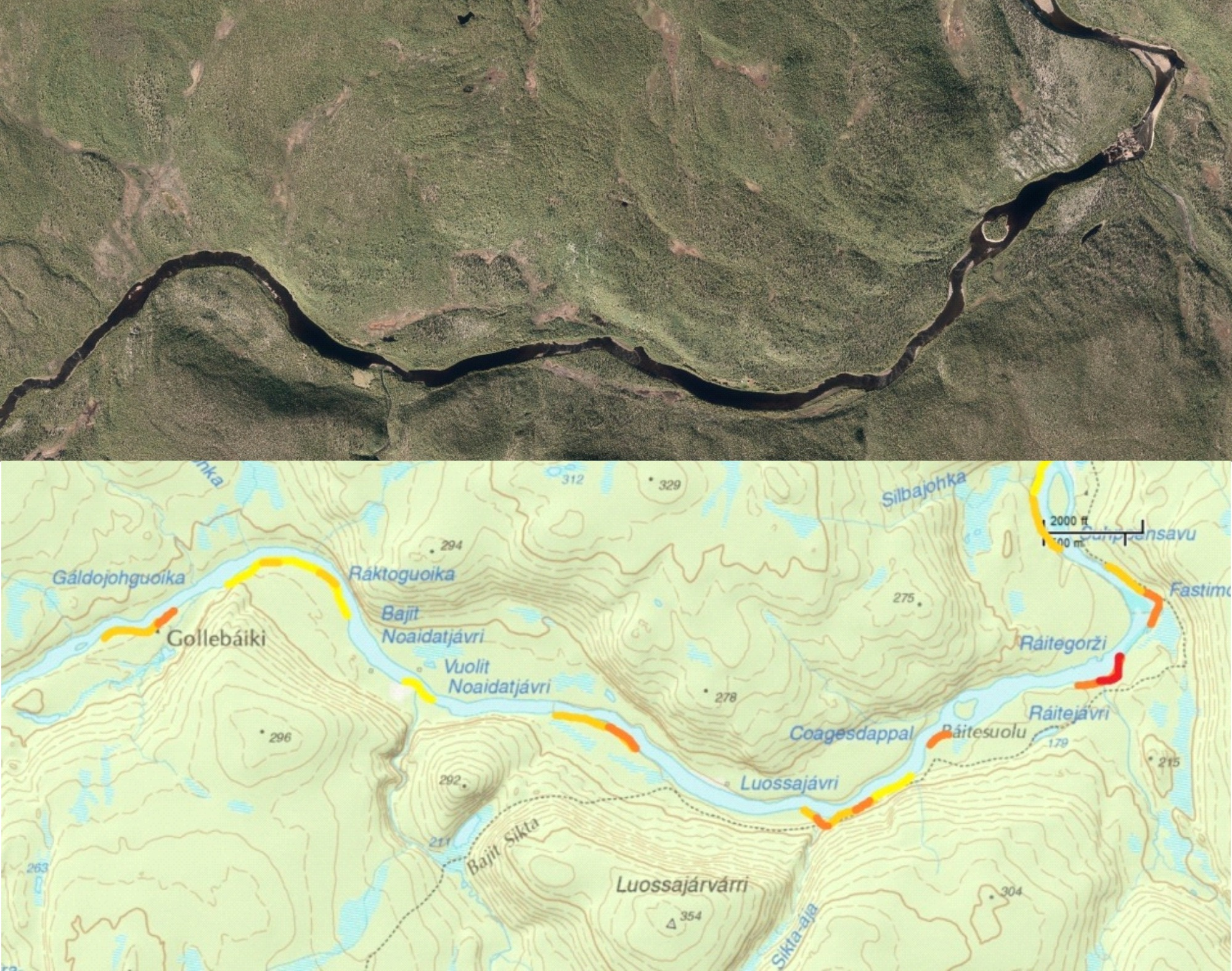 Figure 26: River map for the Karasjohka river in Norway's Finnmarksvidda, a river I paddled in september 2012 during the last weeks of my Scandinavia traverse. This is the map I would attach to the pack on the bow of my raft while paddling.